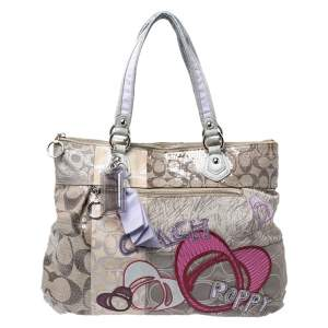 Coach Multicolor Signature Fabric and Sequins Poppy Patchwork Hobo