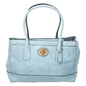 Coach Sky Blue Patent Leather Front Pocket Tote