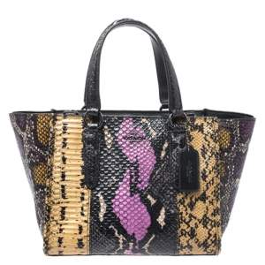 Coach Multicolor Python Embossed Leather Tote