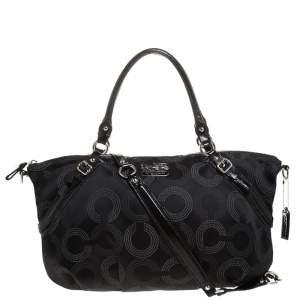 Coach Black Signature Fabric Top Handle Bag