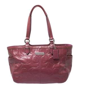 Coach Pink Monogram Patent Leather Tote