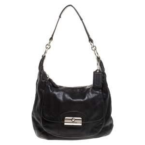 Coach Black Leather Front Pocket w/Turn Lock Hobo