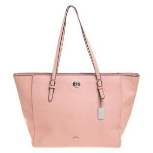 Coach Pink Leather Turnlock Shopper Tote