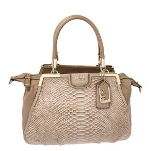 Coach Beige Embossed Python and Leather Satchel
