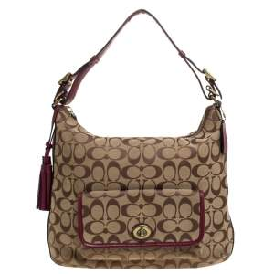 Coach Beige/Burgundy Canvas and Leather Front Pocket Hobo