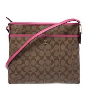 Coach Beige/Pink Signature Coated Canvas Crossbody Bag
