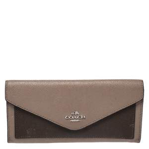 Coach Beige/Olive Green Leather Colorblock Continental Wallet