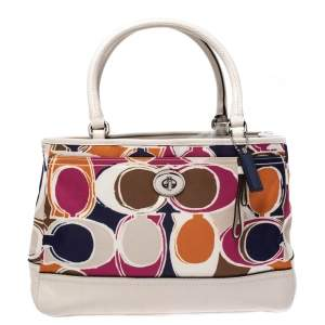 Coach Multicolor Satin and Leather Carryall Tote