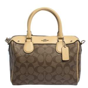 Coach Brown/Cream Signature Coated Canvas and Leather Mini Bennett Satchel