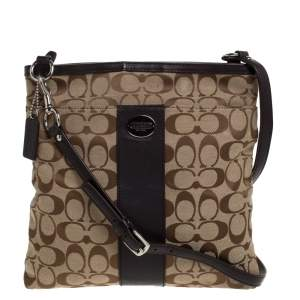 Coach Brown/Beige Canvas and Leather Crossbody Bag