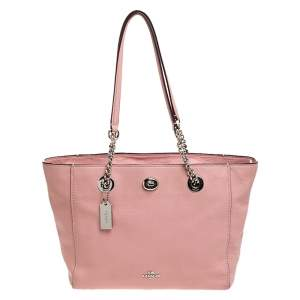 Coach Pink Leather Turn Lock Top Zip Tote