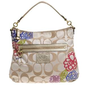 Coach Beige/Gold Flower Print Canvas and Leather Hobo