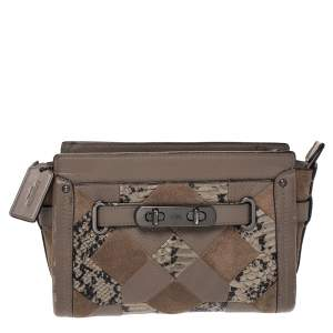 Coach Beige Leather/Suede and Snakeskin Embossed Swagger Crossbody Bag