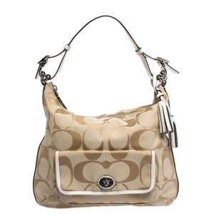 Coach Beige Signature Canvas and Leather Courtney Hobo