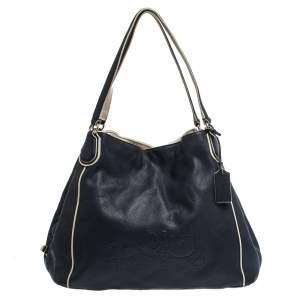 Coach Navy Blue/White Leather Hadley Shoulder Bag