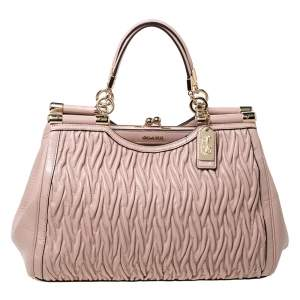 Coach Pink Leather Kisslock Frame Satchel