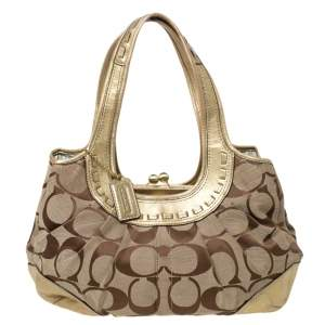 Coach Gold/Beige Signature Canvas and Leather Ergo Tattersall Hobo