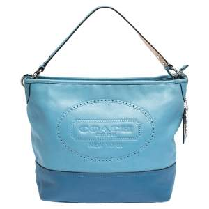 Coach Two Tone Blue Leather Perforated Hampton Shoulder Bag