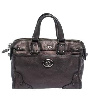 Coach Metallic Plum/Black Leather Rhyder Satchel