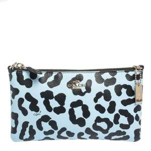 Coach Light Blue/Black Leopard Print Leather Zip Clutch Bag