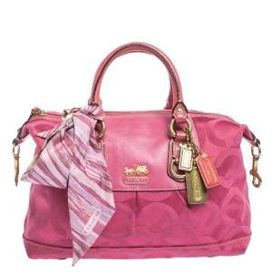 Coach Pink Signature Canvas and Patent Leather Ashley Satchel