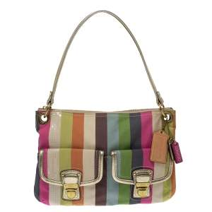 Coach Multicolor Canvas and Leather Sequin Stripe Hippie Legacy Hobo