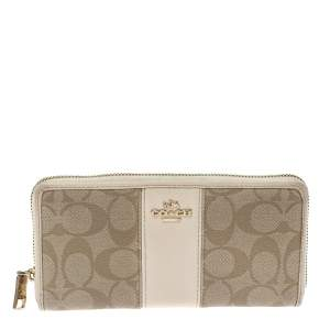 Coach Beige/Cream Signature Coated Canvas and Leather Accordion Zip Around Wallet