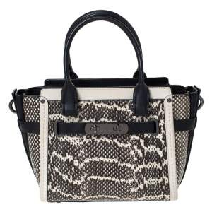 Coach Black/Beige Snakeskin Effect and Leather Swagger 20 Tote