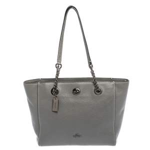 Coach Grey Leather Turnlock Chain Tote