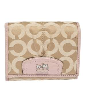 Coach Pink/Beige Signature Canvas and Leather Flap Compact Wallet
