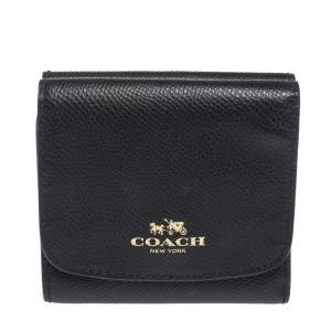 Coach Black Leather Trifold Compact Wallet