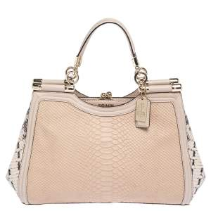 Coach Blush Pink Python Embossed Leather Madison Pinnacle Carrie Tote