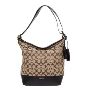 Coach Dark Brown/Beige Signature Canvas and Leather Legacy Hobo