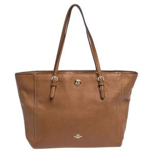 Coach Brown Leather Turnlock Tote