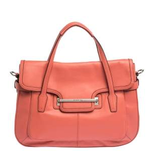 Coach Coral Orange Leather Taylor Marin Flap Satchel
