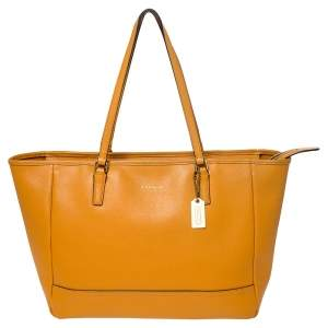 Coach Orange Leather Shopper Tote