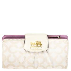 Coach Cream Signature Canvas and Leather Continental Wallet