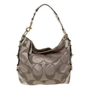 Coach Gold Signature Canvas and Patent Leather Carly Hobo