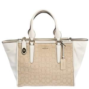 Coach Off White/Beige Signature Canvas and Leather Crosby Tote