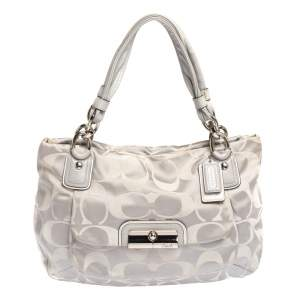 Coach Grey Signature Canvas and Lizard Embossed Leather Small Kristin Hobo