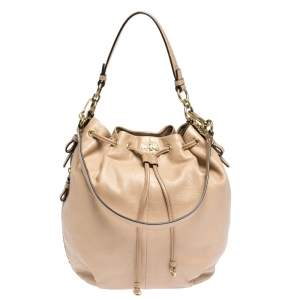 Coach Beige Leather Drawstring Hobo