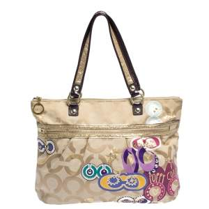 Coach Beige/Purple Canvas and Patent Leather Poppy Tote