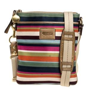 Coach Multicolor Striped Nylon and Leather Swingpack Crossbody Bag