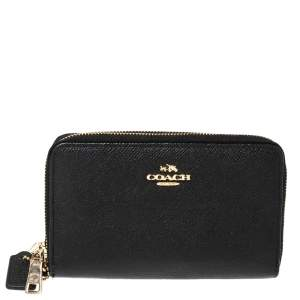 Coach Black Leather Double Zip Wallet
