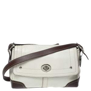 Coach Cream/Brown Leather Flap Crossbody Bag