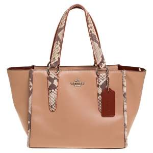 Coach Light Peach/Beige Leather Crosby 21 Tote