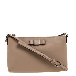 Coach Beige Leather Bow East West Crossbody Bag