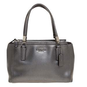 Coach Metallic Silver Leather Mini Christie Carryall Satchel