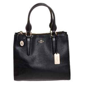 Coach Black Leather Double Zip Tote