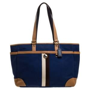 Coach Blue/Brown Canvas and Leather Baby Diaper Shoulder Bag